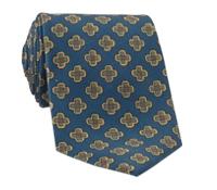 Silk Diamond Motif Tie in Oxford Blue