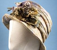 Ladies Embellished Wool Herringbone and Plaid Hat in Brown, Cream, Orange, and Blue