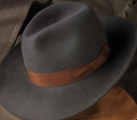 Ladies Wide-Brim Fur Felt Fedora in Graphite