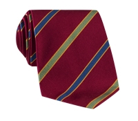 Silk Multi-Color Bar Stripe Tie in Ruby