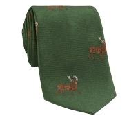 Silk Woven Elk Motif Tie in Forest