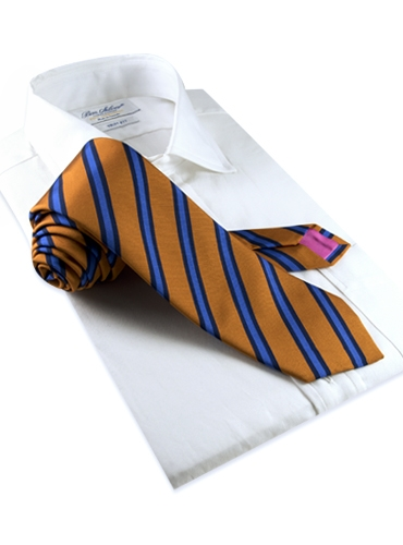 Mogador Woven Stripe Tie in Copper and Cornflower