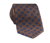 Silk Flower Motif Printed Tie in Mocha