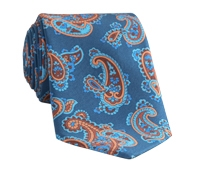 Silk Print Paisley Tie in Teal