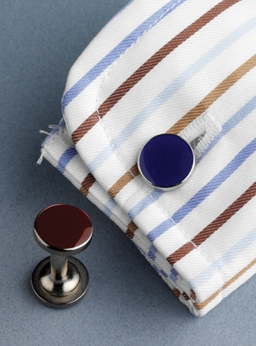 Double-Ended Cufflinks in Wine and Navy