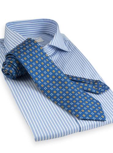 Silk Print Neat Square Tie in Royal with Saffron