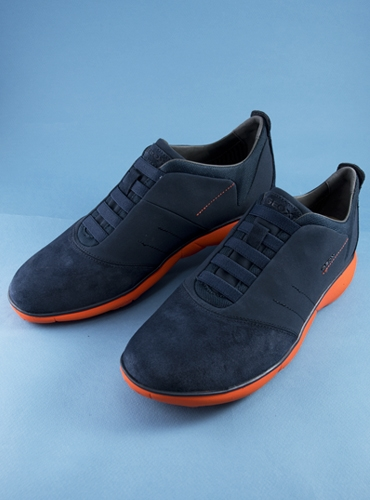 The Geox Performance Sneaker in Navy and Orange, Size 42 (US size 9)