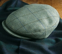Green Motoring Cap with Brown, Blue Windowpanes