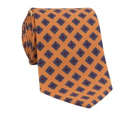 Silk Print Tie with a Diamond Motif in Marigold