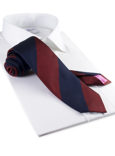 Silk Block Stripe Tie in Wine and Navy