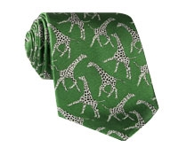 Silk Woven Giraffe Motif Tie in Kelly