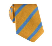 Silk Stripe Tie in Mango and Cornflower