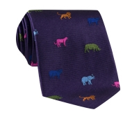 Silk Woven Animal Motif Tie in Violet