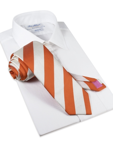 Silk Block Stripe Tie in Copper