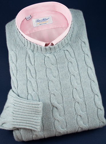 Cashmere Cable Knit Sweater in Stardust