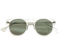 Semi-round Sunglass in Champagne with Green Lenses