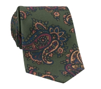 Silk Print Paisley Tie in Fern
