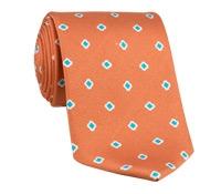 Silk Printed Clover Motif Tie in Tangerine