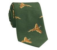 Silk Woven Pheasant in Flight Tie in Hedge