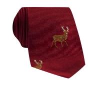 Silk Woven Elk Motif Tie in Cardinal