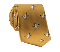 Silk Woven Mallard Motif Tie in Saffron