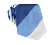 Silk Block Stripe Tie in Navy, Sky and White
