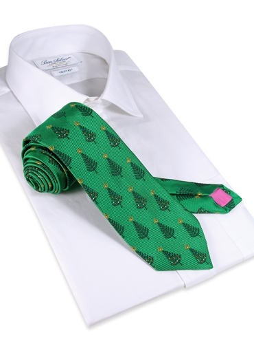 Jacquard Woven Christmas Tree Tie in Holly