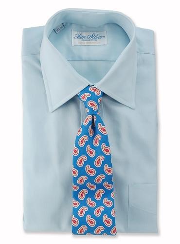 Silk Print Paisley Tie in Azure