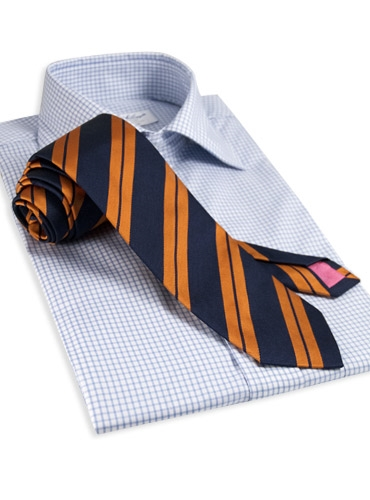 Silk Woven Double Stripe Tie in Navy with Copper