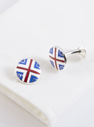 Blue, Red, and White Cross Cufflinks