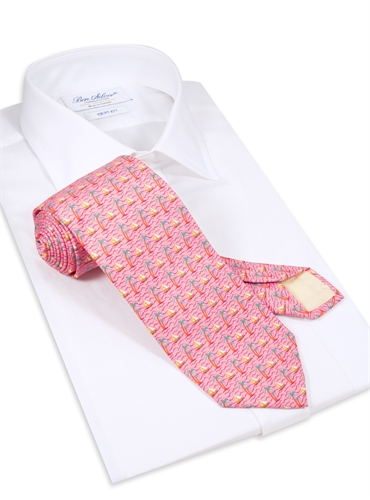 Palm Tree and Sailboat Printed Tie in Rose