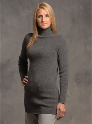 Grey Cashmere Mock Turtleneck Sweater