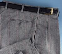 Black and Cream Glen Plaid Trousers, Forward Pleat