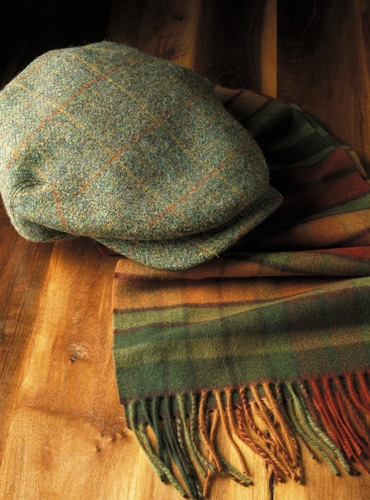 Wool Aberford Green Tweed Cap