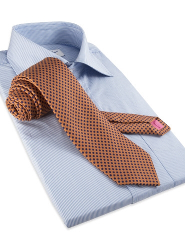 Silk Print Polka Dot Tie in Oak
