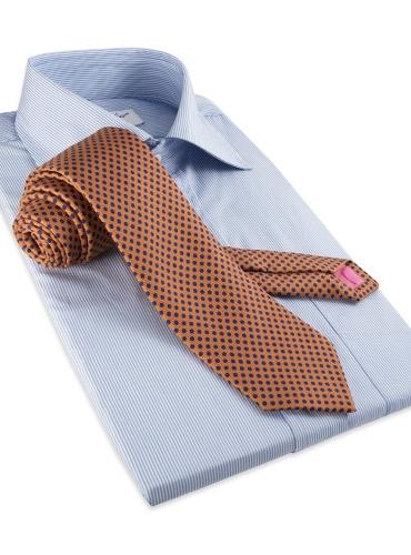 Silk Print Polka Dot Tie in Oak