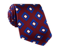 Silk Diamond Print Tie in Wine
