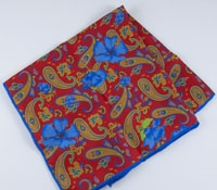 Printed Paisley Pocket Square Red