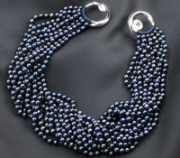 12-Strand Blue Dyed Pearl Necklace