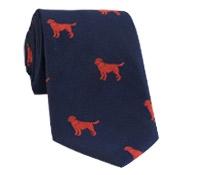 Silk Woven Tie with a Labrador Motif in Navy