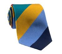 Silk Woven Block Stripe Tie in Marigold, Teal, Cranberry, Navy and Cornflower