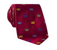 Silk Woven Crown Motif Tie in Red