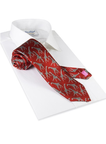 Silk Woven Giraffe Motif Tie in Orange