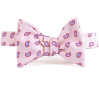 Silk Paisley Printed Bow Tie in Powder