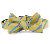 Silk Cotton Woven Stripe Bow Yellow/Blue
