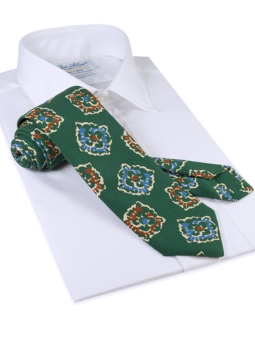 Silk Print Floral Tie in Forest