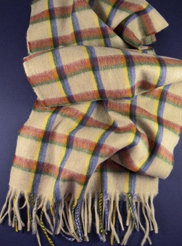 Wool Madras Check Scarf in Cream with Ruby