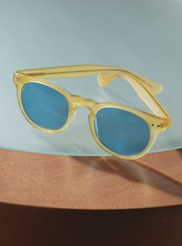 Semi-round Sunglasses in Yellow with Blue Lenses
