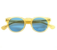 Semi-round Sunglass in Yellow with Blue Lenses