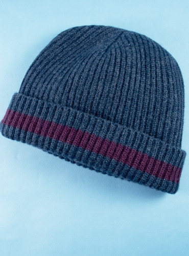 Cashmere Ribbed Cap in Denim with Wine